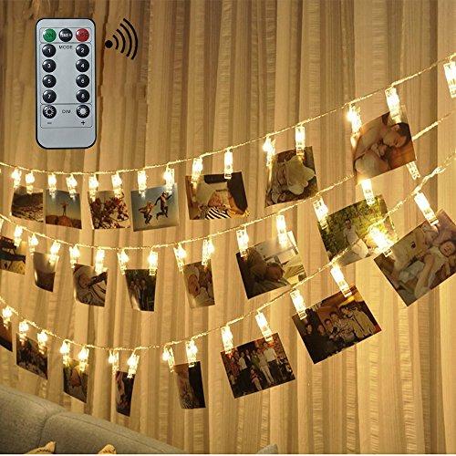 FengNiao Filo con clip reggi foto a LED (con telecomando e timer, 8modalità), 40 clip porta foto con lucine a LED, alimentato a batteria, decorazione per foto appese, appunti, opere d'arte (bianco caldo)