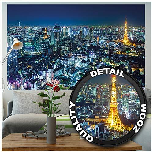 Great Art XXL Poster - Tokyo City - Wandbild Dekoration Tokio Skyline Night Metropole Tokyo Tower Panorama Bild Japan Deko Welt-Stadt Reisen Wandposter Fotoposter Wanddeko (140 x 100 cm)