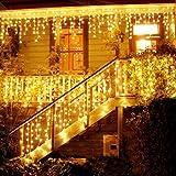216 LED 5M Eisregen/Eiszapfen Lichter, LED Lichtervorhang Lichter, Weihnachtsdeko Weihnachtsbeleuchtung Deko Christmas INNEN und AUSSEN, LED String Licht [NEWEST]