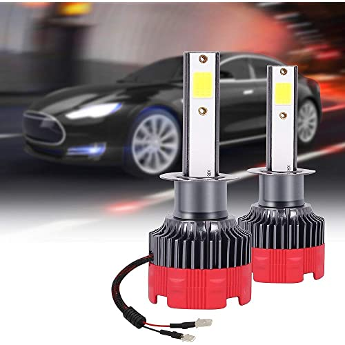 sanlinkee Lampadina H1 LED, 12000LM Auto Fari Conversione Kit Sostituzione per Alogena Lampade e Xenon Luci Fari Abbaglianti o Anabbaglianti per Auto Kit, 60W 6000K Bianco, 2 Pezzi