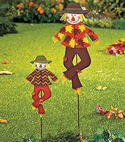 Set of 2 Metal Whimsical Cute Autumn Harvest Scarecrow Outdoor Yard Garden Stake Decor
