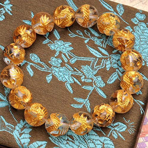 WANZIJING Natürlicher Kristall Armband, klarer Quarz Kristall Runde Perlen Armband mit Gravur Gold Dragon Classic Armband zum Vatertag,12mm