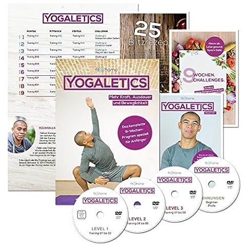 YOGALETICS: Premium Edition - Das 9-Wochen-Workout speziell für Anfänger (4 DVDs + 3 Booklets + 1 Poster + Online-Stream). Mehr Kraft, Ausdauer und Beweglichkeit durch einen Mix aus Fitness und Yoga. Bodyweight-Training ohne Geräte für Männer und