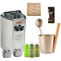 Sauna Poêle Électrique Harvia Vega Compact Kit: BC35; Rento Seau, louche et thermomètre en aluminium; Sablier 15min…