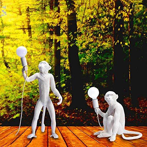 Moderne Hanfseil Affenlampen LED Stehleuchten Kunstrepliken Harz Stehleuchten Schreibtischlampen Bar Dekoration Stehlampen Leuchte, Pendelleuchte, rot -