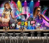 Wanghan 3D Tapete Eigene Tapete Europa Und Amerika Bunte Sexy Tights Beauty Disco Mikrofon Ktv Hintergrund Bar Entertainment Place Fototapete-200Cmx140Cm