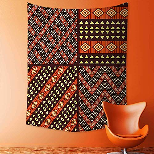 daawqee Print Decorative Throw Fabric Tapestry Wall Hanging of Tribal African Etnic Patterns Traditional Motifs Geometric Artwork Brown Orange Yellow Art for Bedroom 130x150 cm Unique Home Decor