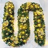 Brinny Weihnachten 2.7m LED Tannenzweig Girlande Weihnachtsgirlande mit Blume und Glocke