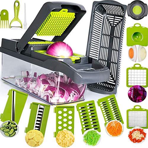 SAIAOBO Mandoline Coupe-Légumes 13 en 1, Trancheur de Légumes, Légumes Râpés, Hachoir de...
