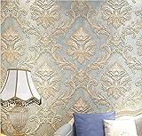 H&M Tapete Vlies modern einfach Textur 3D Einfarbig wasserdicht Tapete Dekoration Schlafzimmer TV Wand Wohnzimmer Tapete -53 cm (W) * 10 m (L) , blue