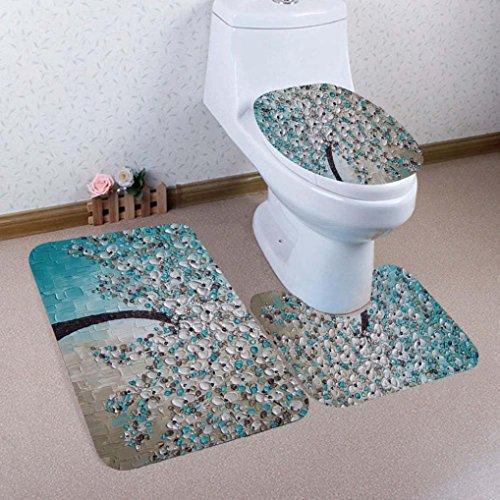 YJYDADA 3-teiliges Badezimmerteppich mit Toilettendeckel, Deckel und Badematten-Set, Holz Metall Leinen Baumwolle, F, 5 Stück