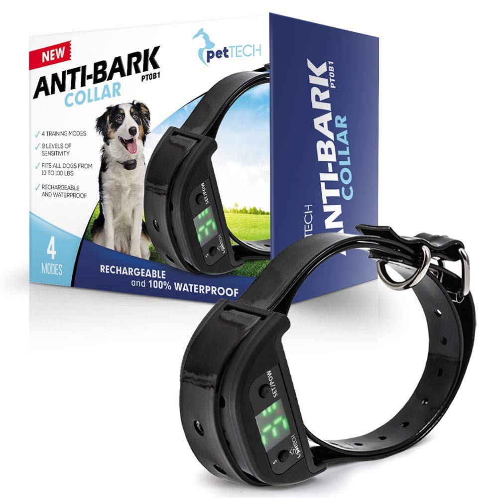 PetTech No Bark Dog Collar, Stop Dogs Barking with Sound & Vibration, Humane (No Shock or Harmful Sprays) Rechargeable Anti Bark Dog Training Collar
