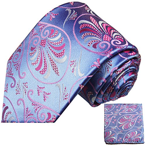 Cravate homme bleu rose fleurs ensemble de cravate 2 Pièces ( longueur 165cm )