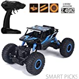 Smart Picks 1:18 Rechargeable Rock Crawling 4WD 2.4 Ghz 4x4 Rally Car Remote Control Monster Truck (Blue)