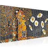 Bilder Gustav Klimt der Kuss Wandbild 100 x 40 cm Vlies - Leinwand Bild XXL Format Wandbilder Wohnzimmer Wohnung Deko Kunstdrucke Gelb 1 Teilig - MADE IN GERMANY - Fertig zum Aufhängen 021512c