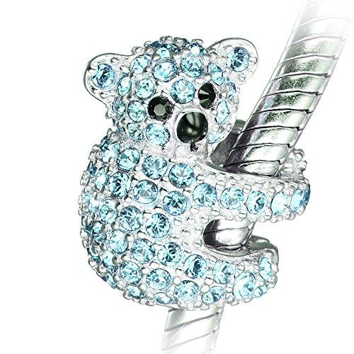 Charm a koala in argento Sterling con cristalli azzurri, in confezione regalo