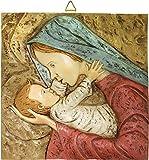 Ferrari & Arrighetti Quadro Madonna con Bambino Quadrato in Resina Dipinta a Mano - Bassorilievo - 7 x 7 cm