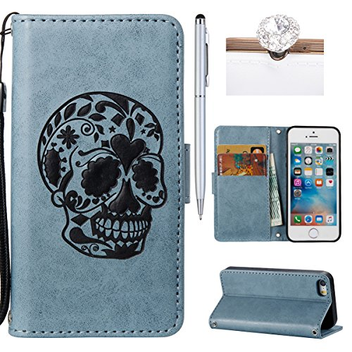 Custodia iphone 5 / 5s / SE, Felfy Flip iphone 5 / 5s / SE Custodia Cover, Custodia in Pelle Premium Cover in Folio per iPhone 5 / 5s / SE Modello di Orso Cartone Animato con Funzione di Supporto e Ci Cranio,Blu