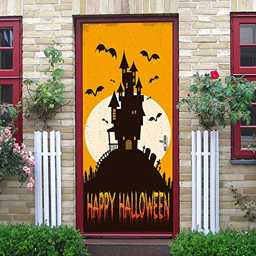 HNXSL Türaufkleber Orange Weiß Moon Stick Schwarz Castle Silhouette Applique Home Halloween Dekoration Neu Qualifiziert 2019 Neu Türaufkleber 77 * 200cm (De Wallpapers Halloween 2019)