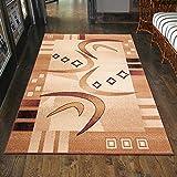 Designer Teppich Modern Gestreift Muster In Beige - ÖKO TEX (200 x 300 cm)