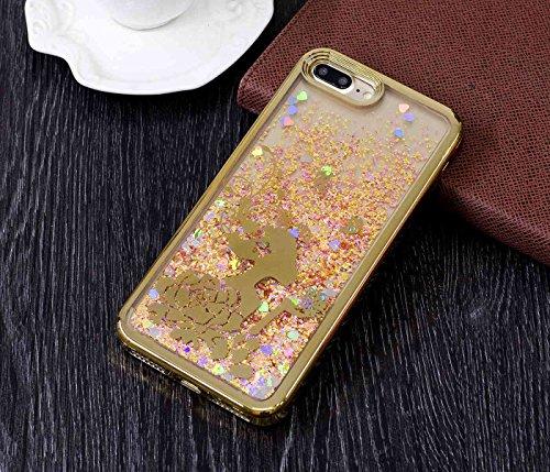 iPhone 7 Plus 5,5Zoll Hülle,iPhone 7 Plus Glitzer Hülle,TOYYM Kristall Klar Fließen Flüssig Liquid Schutzhülle Durchsichtige Handytasche Luxus Bling Glanz Glitzer Treibsand Handyhülle Backcover Case T Gold,Prinzessin