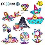 LEEHUR Magnetische Bausteine Set 94 Teile Magnetische Bauklötze magnetisch Bausteine Set Kreative und Pädagogische Spielzeuge-Riesenrad & Aufbewahrungsbox mit Beutel
