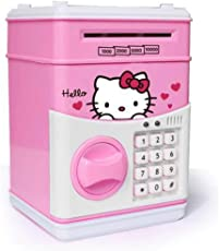 NSinc-Electronic Piggy Bank Password Lock Money Safe for Coins and Notes Collecting, Assorted Colour and Design (Character for Girls) (Character for Girl)
