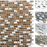 Mosaikfliesen Muschel Glas Naturstein Jasmina | Wand-Mosaik | Mosaik-Fliesen | Naturstein-Mosaik | Fliesen-Bordüre | Ideal für den Wohnbereich und fürs Badezimmer (auch als Muster erhältlich) (Muster, Braun)