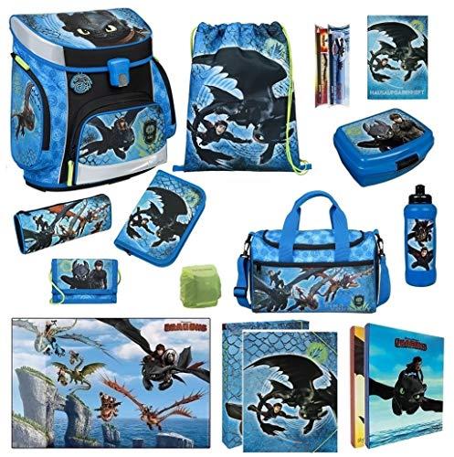 Familando Scooli Schulranzen-Set 17 TLG. Dragons - Drachenreiter von Berg - mit Federmappe, Sporttasche und Regenschutz Drache Ohnezahn