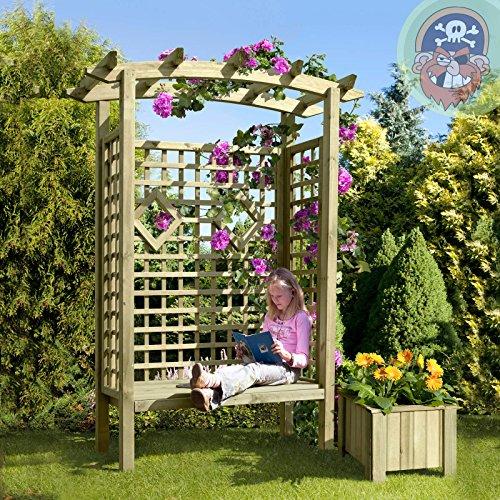 floristikvergleich.de Gartenpirat Pergolensitz als Gartenlaube mit Gartenbank und Dach aus Holz