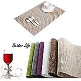 HAMENG Placemats [4PCS] Insulation Non-slip PVC Weave Placemats, Adiabatic Placemats Washable Table Mats?[Energy Class A+++]-BEIGE