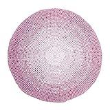 Sebra Teppich aus 100% Baumwolle Gradient Rose mit Farbverlauf, rund, Durchmesser 120 cm, Spielteppich in rosa, handgefertigt