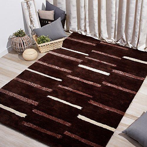 Sancarlos - Alfombra a rayas cage marrón chocolate - alta densidad - inodora - facil mantenimiento