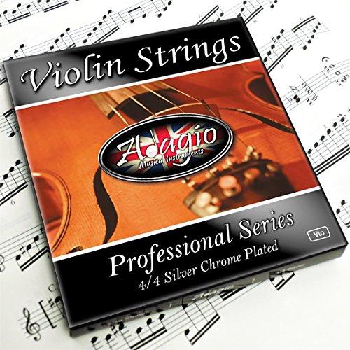 Adagio Pro–Saiten für Violine, 4/4Classic silber-Saite für Violinen Set/Pack mit Ball Enden für Konzert Tuning