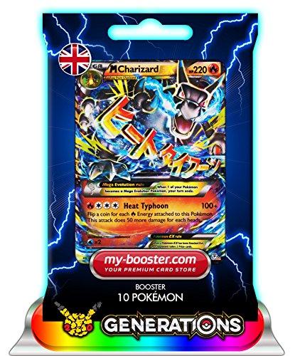 MEGA M CHARIZARD EX (Glurak) 12/83 220HP XY Generations- Booster mit 10 Englisch Karten Pokemon my-booster