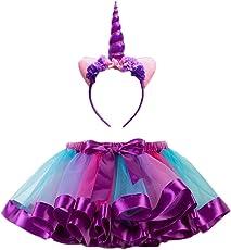 FENICAL Unicorn Horn Headband Rainbow Tutu Skirt Kids Girls Unicorn Costume Set - Size L (Hairband and Skirt)(Purple)