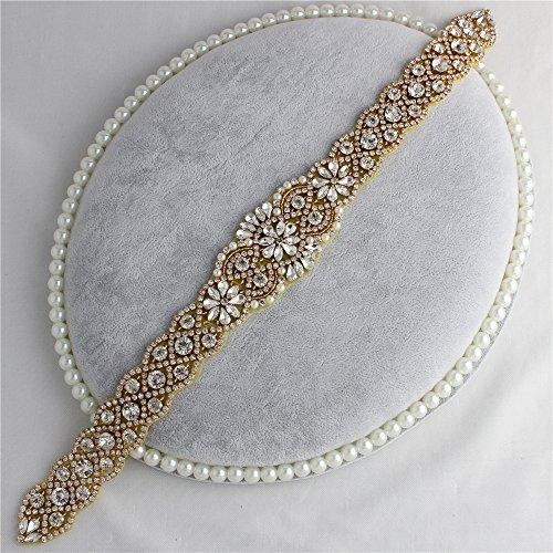 Hochzeitskleid Gürtel DIY Farbige Rhinestone Appliques mit Kristallen und Perlen (Gold)