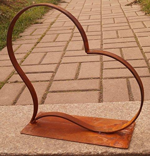 Edelrost Herz offen 34 cm auf Bodenplatte Gartendekoration Wohnen Geschenk