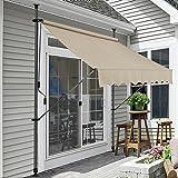 [pro.tec]® Tenda da sole avvolgibile a barra quadra con gambe - 150 x 120 x 200-300 cm - Parasole - Color sabbia