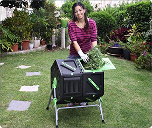 This tumbling composter is relatively small, which is both an advantage and disadvantage. This will be an excellent buy if you own a small garden. You can still buy it if you have a large garden but you realize you'll have to do so much work composting a large amount of waste. Our research also found that this Twin Chamber Tumbling Composter is the easiest to twirl while it's also somewhat expensive.