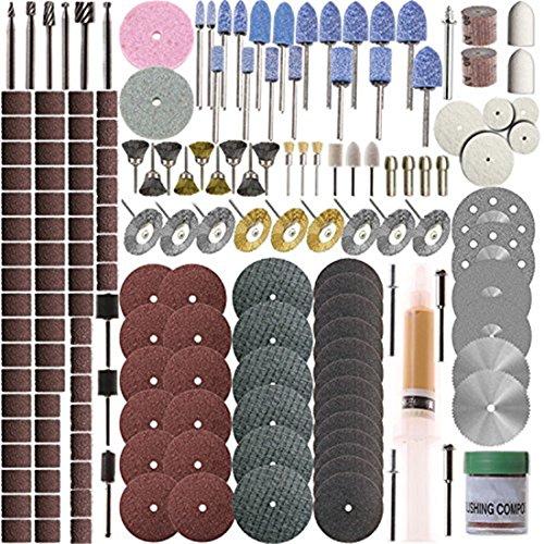 SHINA 217pcs Stufenraster Zubehör Instrument Werkzeug schwenkbar Set-Dremel-Schleifen, Polieren (Dremel Trennscheibe Verstärkte)