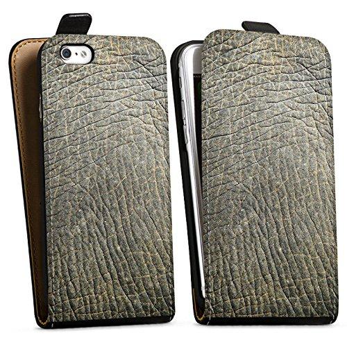 Apple iPhone X Silikon Hülle Case Schutzhülle Elefantenhaut Look Tierhaut Muster Struktur Downflip Tasche schwarz