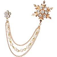 Mahi Rose Gold Plated Men's Eye Catching Crystal Stone Studded Three Chain Pin Brooch BP1101027Z