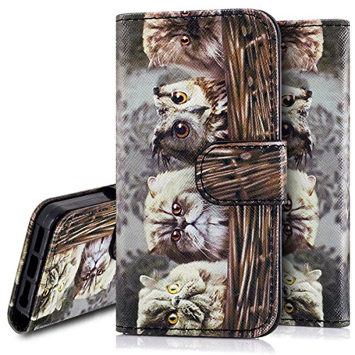 Custodia iPhone 5S cover iPhone 5 case iPhone SE,Ukayfe Stitching Colore Flip Case Cover per iPhone 5S,iPhone 5 iPhone 5S iPhone SE Lussuosa Astuccio Custodia Cover [PU Leather] [Shock-Absorption] Pro Gattino 2#
