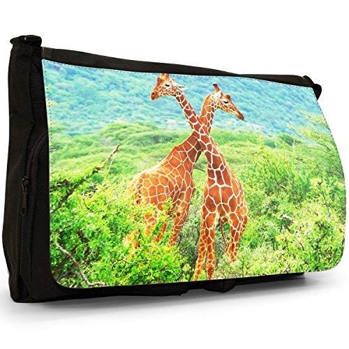African giraffa–Borsa Tracolla Tela Nera Grande Scuola/Borsa Per Laptop Two Giraffe Fighting