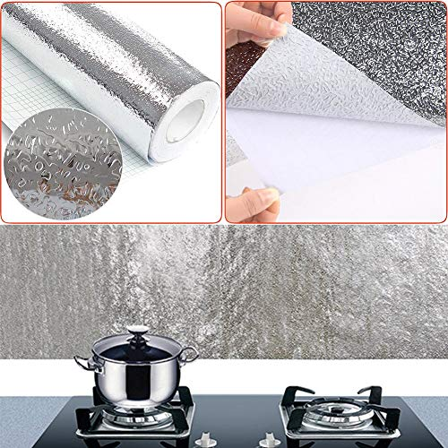 Shelzi Multi 2.5 Meters Waterproof Kitchen Oil-Proof Sticker foil Kitchen Stove Cabinet Stickers self-Adhesive Wallpapers DIY Wall Stickers