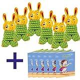 Gummitwist für Kinder mit Aufwickelhilfe Hase Josef 6er Set mit Buch sehr hochwertig Hüpfband Give Away Mitbringsel Kindergeburtstag, Ostern, Ostergeschenk