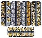 Ranvi 3000 Pièces (5 Boîtes) Nail Art Strass Set Ornements Ongles Style1
