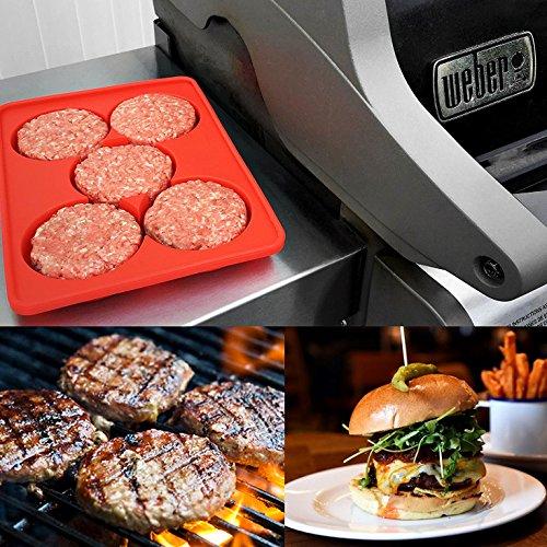 Silikon Burgerpresse set snaideal Hamburger BBQ Patty Maker Rund Burger Presse 5 in 1 Baby bereit Cookie Gefrier-Behälter - 5