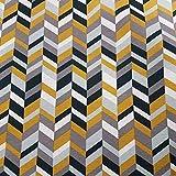 Stoff Meterware Baumwolle gelb grau schwarz Grafik Vorhang